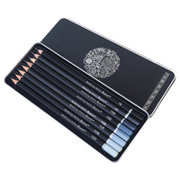 8pce Graphite Lead Pencils in Assorted Depths of Colour In Metal Box