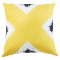 1pce 45cm Yellow/White and Black Cushion Cover W/ Insert Cross Over Design