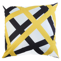 1pce 45cm Dominant Yellow / White and Black Cushion Cover with Insert