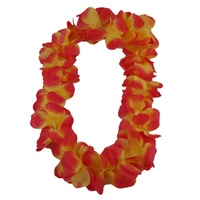 4pce Bundle Hawaiian Lei Garland Orange Tones Flower Wreath for Fancy Dress Party Full and Plush