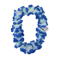 12pce Bundle Hawaiian Lei Garland Blue Tones Flower Wreath for Fancy Dress Party Full and Plush