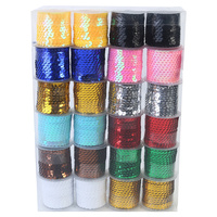 24pce Bulk Pack of Sequin Rope in 12 Colours 5 Meters in Length