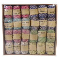 24pce 5m Hemp Ribbon Rope in Natural Colours Bulk Lot / 8 Colours