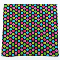 1pce Bandana 54x54cm Multi Coloured Polka Dot with Black Background
