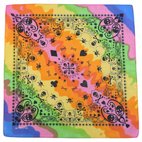 1pce Bandana 54x54cm Tie Dye with Black Skulls Multi Coloured Bright
