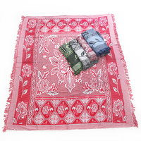 1pce Red Boho Throw Rug / Table Cloth / Picnic / Camping Blanket 180x200cm