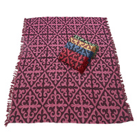1pce Purple Chevron Design Throw Rug / Table Cloth / Picnic / Camping Blanket 180x200cm