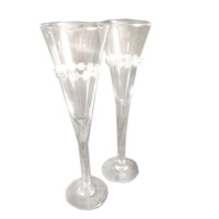 2pce x Wedding Champagne Flutes. Handmade. Diamante Design.