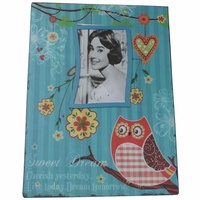 35cm Blue Owl Metal Magnetic Photo / Picture Frame Hanging Vintage Style