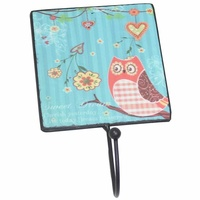 18cm Inspirational Blue Owl Metal Wall Hook Hanging Vintage Style Dreams