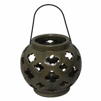 10cm Round Tea Light/Candle Holder Green Ceramic with Crackle Effect
