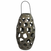 26cm Oval Lantern Candle Holder Green Ceramic with Crackle Effect MQ-145