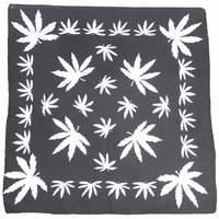 Bandana - Black and White Hemp Leaf Design Background 100% Cotton 55x55cm
