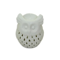 10cm Ceramic Oil Burner White Glazed Owl Design, Fragrant Aroma,  MQ-088