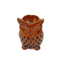 10cm Ceramic Oil Burner Brown/Clay Glazed Owl Design, Fragrant Aroma,  MQ-089
