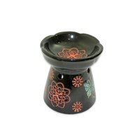10cm Ceramic Oil Burner Black Glazed Butterfly Design, Fragrant Aroma  MQ-098