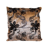 1pce 40x40 Designer Vintage Style Cushion Beige Velvet Feel with Black & Silver Trim