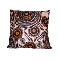 40x40 Designer Vintage Style Cushion Embroided Brown, Beige and Orange Colours