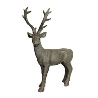 Grey 50x35cm Resin Deer Statue Standing on Allert with Antlers MQ-138