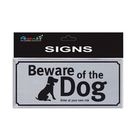 Beware of the Dog Brushed Steel Sign Silver / Black 20x9cm MQ-276