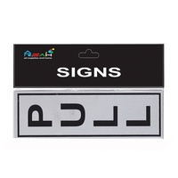Pull Brushed Steel Sign Black / Silver 18x5.5cm MQ-278