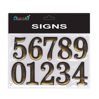 Sheet of Metallic Gold Numbers 0-9 Self Adhesive Stickers 5x3cm MQ-279