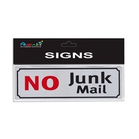 No Junk Mail Sign Brushed Steel Silver / Black / Red 18x5.5cm MQ-282