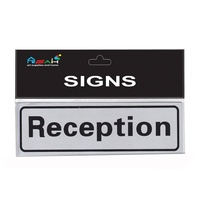 Reception Brushed Steel Sign Black / Silver 20x6cm MQ-288