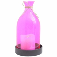 27cm Pink Glass Candle Party Lantern with Black Metal Base and String Bow