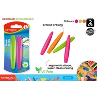 New 2pce Keyroad Eraser Stick Coloured School Drawing Essentials