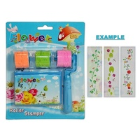 1 x Blue Kids Stamp Roller with 3 Stamp Rolls and an Ink Pad with Flower Boarder
