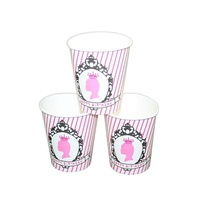12pce Pink Princess Theme Party Paper Cups 200ml for Birthday Parties