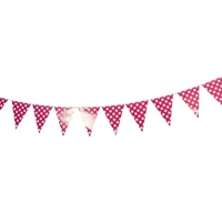 Pink Polka Dot 2m Party Bunting Flags Paper with Quality Stitched Joinings MQ311