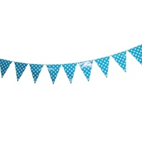 Blue Polka Dot 2m Party Bunting Flags Paper with Quality Stitched Joinings MQ311