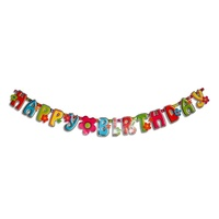 Flower Power Theme Party Banner 200x18cm Sign Great for Happy Birthday Parties
