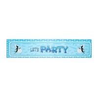 Blue Polka Dot Theme Party Banner 100x30cm Sign Great for Happy Birthday Parties