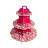 Pink Party Cakes Design 36x32cm Cardboard Cupcake Stand Holds 16 Cakes Parties