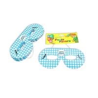 12pce Blue Polka Dot Party Mask 16cm for Birthday Parties