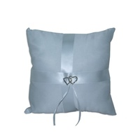 1 x Wedding Ring Cushion 20cm with Double Heart Diamante Center & Ribbon MQ-322