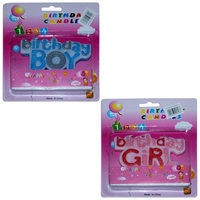 Set of 2 12cm Birthday Boy and Girl Candle with Three Wicks in Blue, Pink and Glitter Effect MQ-343