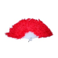 5 x Red Feathered Fan, for Dance Groups, Theatre, Show Girls or Theming MQ-350