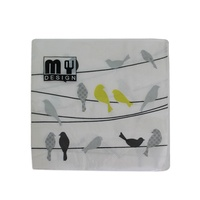 20 Pack Green Bird on Wire Design 2 ply Premium Party Napkins 33x33cm Serviettes Disposable