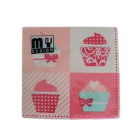 20 Pack Four Pink Cup Cakes Design 2 ply Premium Party Napkins 33x33cm Serviettes Disposable