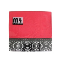 20 Pack Red with French Provincial Design 2 ply Premium Party Napkins 33x33cm Serviettes Disposable
