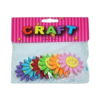 6 Pack of Coloured Felt Flowers Embellishments for Card Making,  Scrapbooking