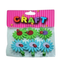 6 Pack of Felt Flower/Beatle with Peg Embellishments Card Making  Scrapbooking A