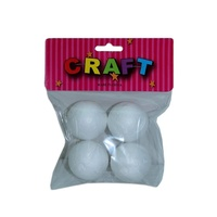 4pce Foam Polystyrene Balls / Sphere 3.5cm Diameter for Craft, Christmas