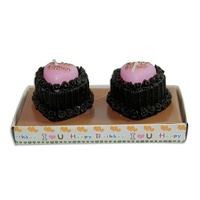 Set of 2 Happy Birthday Love Heart Cake Wax Candles Brown / Pink