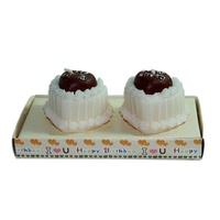 Set of 2 Happy Birthday Love Heart Cake Wax Candles White / Brown