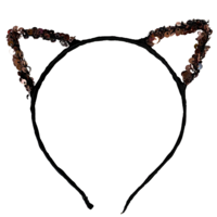 1pce Rose Gold/Black Sequin Cat Ears Headband, Dress Up Costume Accessory